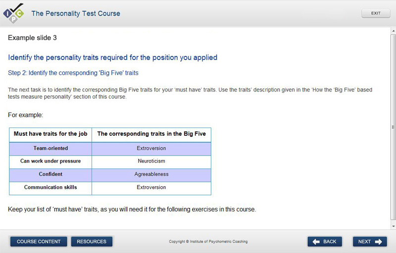 Practice personality tests and courses online